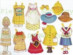 1970's Gingham Paper Doll  DIGITAL DOWNLOAD  by PaperGoodsParadise, $0.99