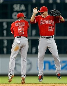 Mike Trout and Erick Aybar of the Los Angeles Angels