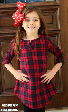 Kids Fall in Line Plaid Flannel Tunic in Red, Green and Navy www.gugonline.com $24.95
