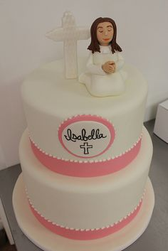 Communion Cake with figurine med by Amanda Oakleaf Cakes, via Flickr
