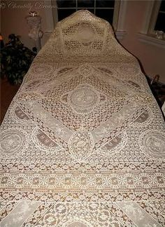 Rare Antique Victorian Handmade French Normandy Lace Tablecloth/Coverlet
