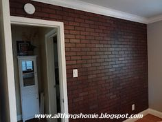 Use lowe's fake brick panels to highlight bedroom wall, then paint white to offer texture. Faux Brick Walls, Brick Paneling, Faux Brick Wall Panels, Decorative Panels, Bedroom Wall, Diy Bedroom, Bedroom Ideas, Master Bedroom, Brick And Stone