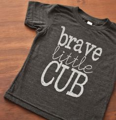 Available Now!!! Brave Little Cub Screen Printed Kids Tshirt  Black by DearCub, $17.00