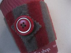 Cup cosy for take away paper coffee by KnitwitDesignsUK on Etsy, £4.50