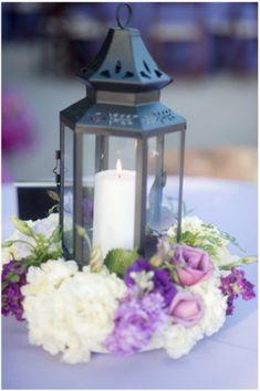 purple lavender wedding ideas bouquet by Flour and Flower Designs lantern centerpieces and Flower Designs Purple Wedding Centerpieces, Lantern Centerpiece Wedding, Wedding Lanterns, Wedding Decorations, Table Decorations, Centrepieces, Wedding Table, Our Wedding, Dream Wedding