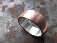Copper wedding band, personalized mens ring, bold copper ring silver, wedding band copper silver, mens ring copper, anniversary gift for men