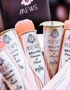 And Frozen Bellini Prosecco Ice Pops! Cocktails Bar, Cocktail Drinks, Prosecco Cocktails, Prosecco Van, Cocktail Ideas, Bellinis, Partys, Food Design, Wine Design