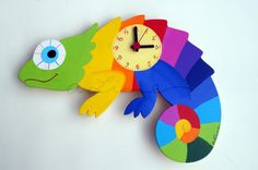 Bunte Chamäleon Wanduhr für das Kinderzimmer / colorful chameleon wall clock made by a Line ... 4 KIDS via DaWanda.com