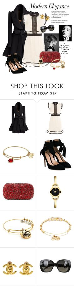 """""""Modern Elegance"""" by melissabradley-1 ❤ liked on Polyvore featuring self-portrait, Alex and Ani, Gianvito Rossi, Alice + Olivia, Movado, Chanel, Bottega Veneta and modern"""