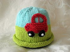 Hand Knitted Baby Hat  Car cotton knitted baby por CottonPickings, $24.00