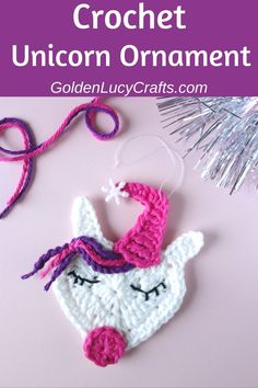 If you like Unicorns, this crochet Christmas Unicorn ornament will be a wonderful DIY decoration for your Christmas Tree. Free crochet pattern, Christmas decor, crochet unicorn ornament or applique, Unicorn Christmas Ornament, Unicorn Ornaments, Crochet Christmas Ornaments, Christmas Crochet Patterns, Holiday Crochet, Beaded Ornaments, Christmas Tree, Christmas Ideas, Christmas Decor