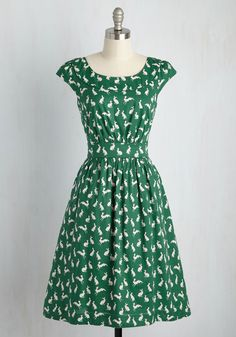 Day After Day A-Line Dress in Rabbits. This pocketed dress by hard-to-find British brand Emily and Fin will lift your spirits when you need it! #green #modcloth