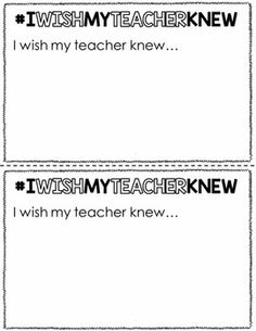I WISH MY TEACHER KNEW {NOW YOUR TEACHER KNOWS} - TeachersPayTeachers.com