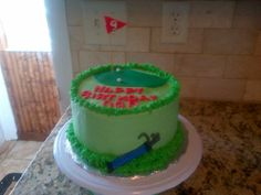 Golf Theme Cake... 2 Layer Chocolate Cake w/ Chocolate Mousse Filling and Buttercream Frosting...