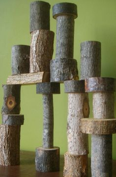 Reggio classroom block-building is enhanced with natural branching wood blocks such at these (via clipzine) Block Center, Block Area, Reggio Emilia Classroom, Tree Study, Block Play, Creative Curriculum, Homeschool Curriculum, Homeschooling, Natural Playground