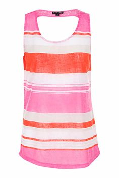 Pink and coral horizontal striped tank top with keyhole back  Sporty Keyhole Tank by Tribal. Clothing - Tops - Tees & Tanks Canada