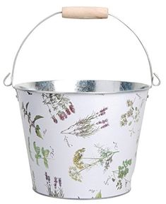 Esschert Design USA Herb Print Galvanized Steel Bucket, 5-Liter ** Continue to the product at the image link. (Amazon affiliate link)