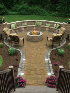 Relaxing firepit patio.....desperately wanting a backyard. We have a lab that destroys everything. If only this were possible.