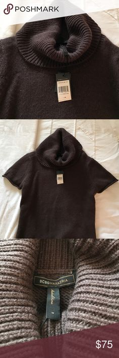 BCBG angora and wool mixed turtleneck sweater Dark brown Angora and Wool mixed BCBG sweater.  Has short sleeves and turtleneck.  Never been worn, tags still on! BCBGMaxAzria Sweaters Cowl & Turtlenecks
