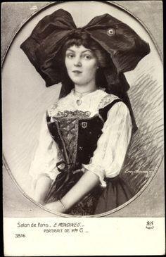 Artist Postcard Mondineu, E.,Portrait,Mlle G,Costume Alsace, Folk Costume, Costumes, Lorraine, Portrait, Folklore, Cross Stitching, France, Culture