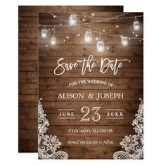 """Save The Date Mason Jars Lights Rustic Wood Lace Card ================= ABOUT THIS DESIGN ================= Mason Jars Lights Rustic Wood Lace 