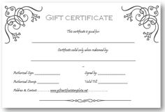 art business gift certificate template