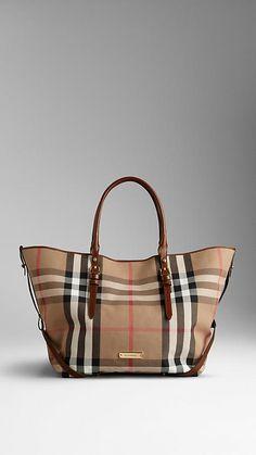Perfect everyday bag - Medium Bridle House Check Tote Bag, Burberry