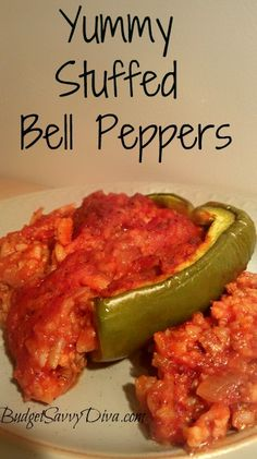 Stuffed Bell Peppers Recipe. 4 green bell peppers, 1 box rice-a-roni spanish rice,1 Lb hamberger, 1/4 chopped onion. brown hamburger and onions, drain grease cook rice a roni  and mix together. Cut tops off peppers and remove seeds, Boil peppers for 2-3 min then drain rinse with cold water and invert on paper towl. Stuff the peppers with rice mixture. Bake @ 350 for 25-30 minutes