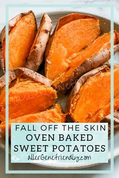 FALL OFF THE SKIN oven-baked sweet potatoes sweet potatoes. Generously prick sweet potatoes with a fork. Place sweet potatoes directly on middle rack of the cold oven. Place a foil-lined baking sheet on bottom oven rack. Turn oven to 425 and set timer for 60 minutes (the oven preheating is part... Baked Sweet Potato Oven, Sweet Potato Recipes, Oven Baked, Real Food Recipes, Free Recipes, Healthy Recipes, Low Calorie Recipes, Food Allergies, Crockpot