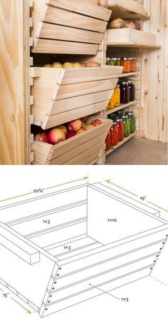 Wood Profits - Teds Wood Working - Root Cellar Storage Get A Lifetime Of Project Ideas Inspiration! Discover How You Can Start A Woodworking Business From Home Easily in 7 Days With NO Capital Needed! Diy Storage, Kitchen Storage, Food Storage, Pantry Storage, Diy Rangement, Root Cellar, Home Organization, Woodworking Plans, Woodworking Projects