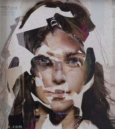 """An Austrian artist named Gabi Trinkaus calls herself a """"media thief"""" because she uses small pieces of glossy magazines to make portrait collages. Face Collage, Collage Art, Mixed Media Photography, Fine Art Photography, Photography Ideas, Fashion Photography, Sketchbook Inspiration, Art Sketchbook, Collages"""