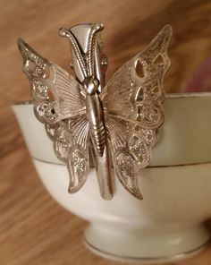 Hair clip/barrette silver tone butterfly