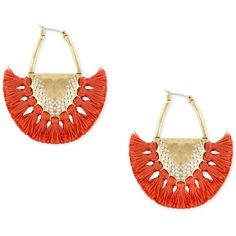 Lucky Brand Gold-Tone Coral Tassel Drop Earrings ($39) ❤ liked on Polyvore featuring jewelry, earrings, gold, lucky brand jewelry, gold colored earrings, gold tone earrings, tassel earrings and fringe tassel earrings