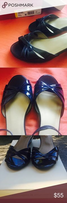 Naturalizer Peep Toe Wedges Never worn. Beautiful shiny peep toe wedges in navy color. Comes with box. Naturalizer Shoes Wedges