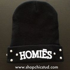 Studded Homiēs Beanie Hat Black w/ White by ShopChicStud on Etsy