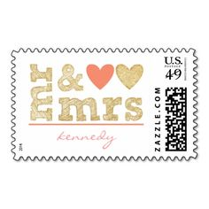 Mr & Mrs Coral and Gold Sparkle Hearts Wedding Postage Stamp  zazzle
