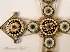 Rare French Bressane cross, silver and vermeil, 19th Century. Beautiful colored enamels. For sale on Proantic by Luc de Laval Antiquités.  #cross   #19thcentury   #enamels