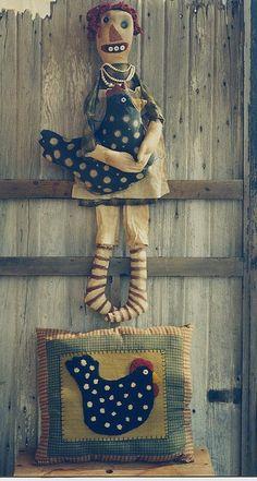 Primitive Cloth Doll Pattern Raggedy Ann by hicketypickety on Etsy Chicken Pillows, Black Chickens, Primitive Crafts, Primitive Doll, Punch Needle Patterns, Ugly Dolls, Ann Doll, Shabby Chic Crafts, Raggedy Ann