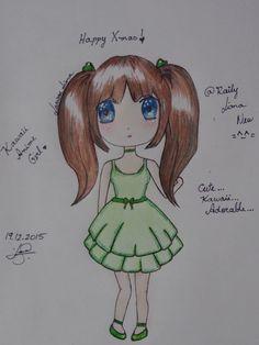 Kawaii Anime Chibi Girl. Happy Xmas... By: Raily Lima =^-^=