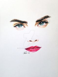 A quick Cara minimal drawing done in Faber Castell watercolour pencils. A4, 2 hours