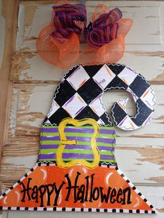 Halloween Witch Hat Door Hanger by queensofcastles on Etsy