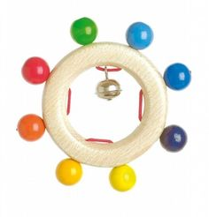Wooden Rainbow Pearls Touch Ring/Rattle with Bells Wooden Rainbow, Wooden Baby Toys, Non Toxic Paint, Baby Hands, Wooden Rings, Toys Shop, Toddler Toys, Baby Accessories, Cool Toys