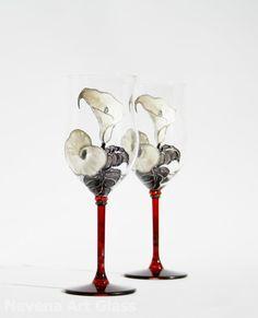 Hand Painted Wine Glasses Calalilies Design by NevenaArtGlass, $55.00