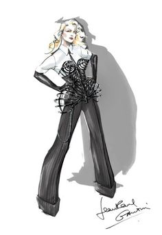 Jean Paul Gaultier's illustration of the reimagined conical bustier for Madonna's latest tour.