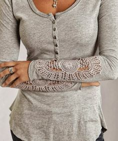 Grey Arm Lace Shirt - fun sleeves