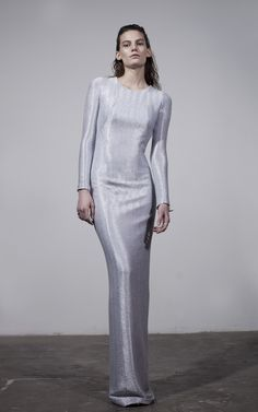 Long-sleeved backless dress in metallized jersey