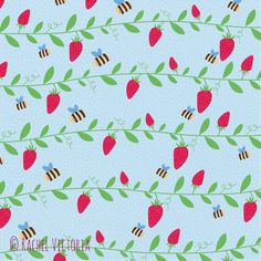Yet another bee and strawberry pattern! I really love this one I have created, it reminds me of summer!
