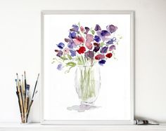 Sweet pea Bouquet, sweet pea art print, watercolor print, floral art print, still life painting, mothers day, purple, lavender, Pink
