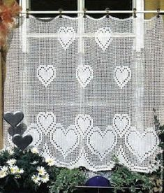 Tina's handicraft : crochet curtain with harts