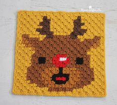 Crochet Rudolph Pixel Square - Repeat Crafter Me
